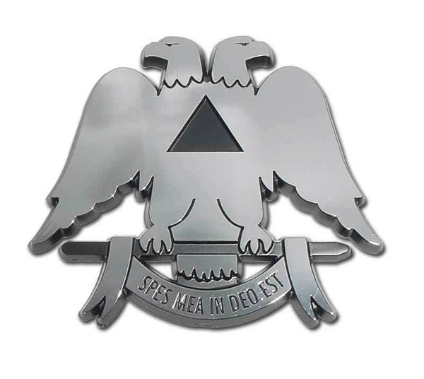 Scottish Rite Chrome Car Emblem - Chrome Car Emblems | Trailer Hitch Covers/Masonic Car Emblems - I AmEricas Flags