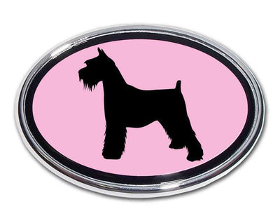 Schnauzer Pink and Chrome Car Emblem