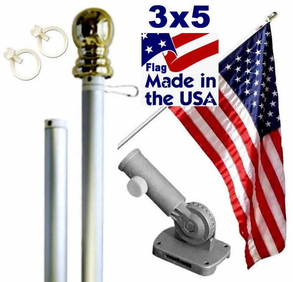 Silver 6ft Spinning Pole and Flag Kit with Embroidered Stars