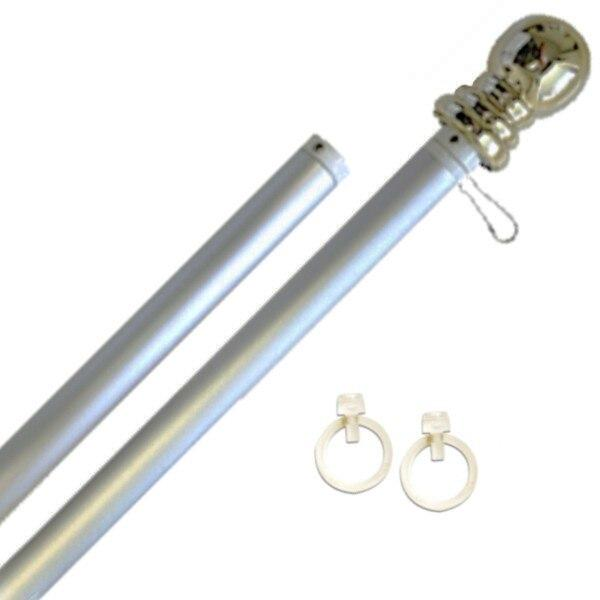 Silver 6ft Spinning Aluminum Flagpole