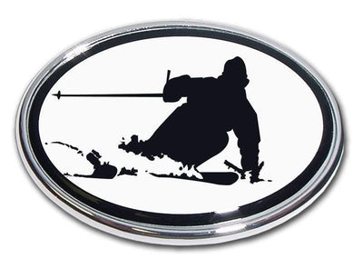 Snow Skier Chrome Car Emblem