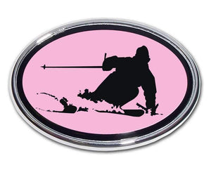 Snow Skier Pink and Chrome Car Emblem - Chrome Car Emblems | Trailer Hitch Covers/Mountain Sports and Resorts - I AmEricas Flags