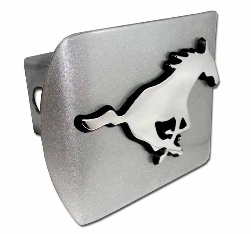 Southern Methodist University Mustang Brushed Chrome Hitch Cover