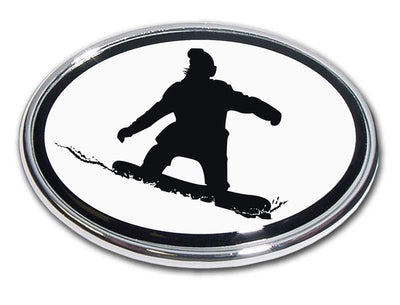 Snowboarder Chrome Car Emblem
