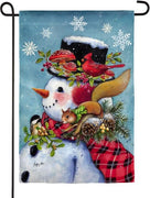 Snowman and Friends Suede Reflections Garden Flag