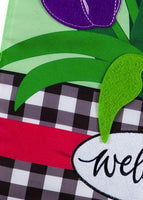 Spring Tulips and Plaid Applique Garden Flag Detail 1