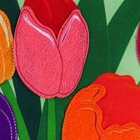 Spring Tulips and Plaid Applique Garden Flag Detail 2
