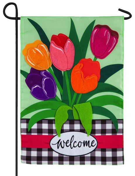 Spring Tulips and Plaid Applique Garden Flag