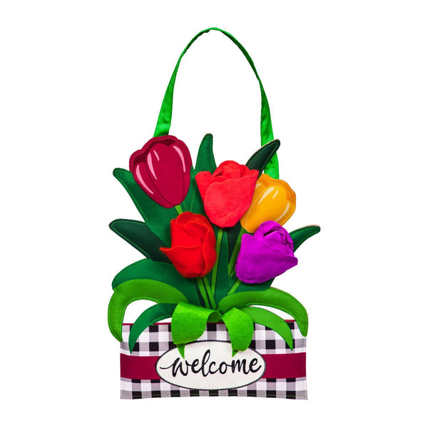 Spring Tulips and Plaid Decorative Door Hanger