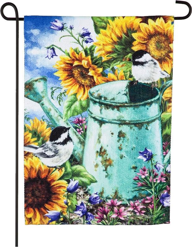 Sunflower and Birds Textured Suede Reflections Garden Flag