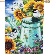 Sunflower and Birds Textured Suede Reflections House Flag