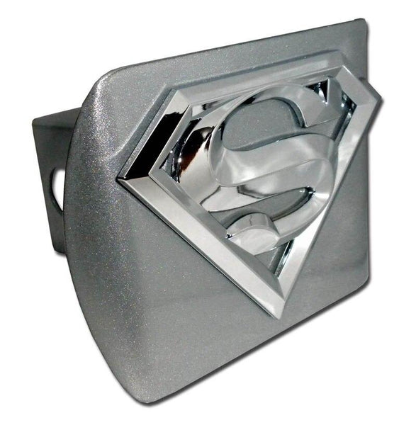 Superman 3D Brushed Chrome Hitch Cover - Chrome Car Emblems | Trailer Hitch Covers/DC Comics Emblems - I AmEricas Flags