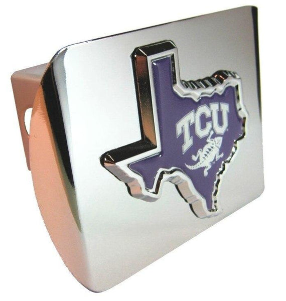 Texas Christian University Purple State Shape Shiny Chrome Hitch Cover