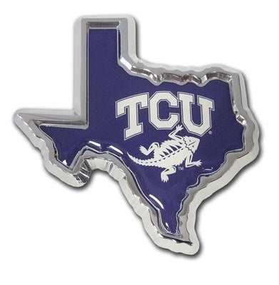 Texas Christian University State Shape Color Car Emblem