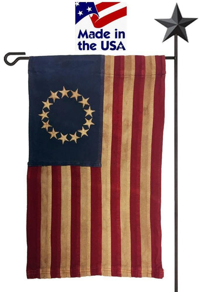 Vintage Tea Stained Sewn Cotton Betsy Ross Garden Flag - Historical Flags/Revolutionary War Flags - I AmEricas Flags