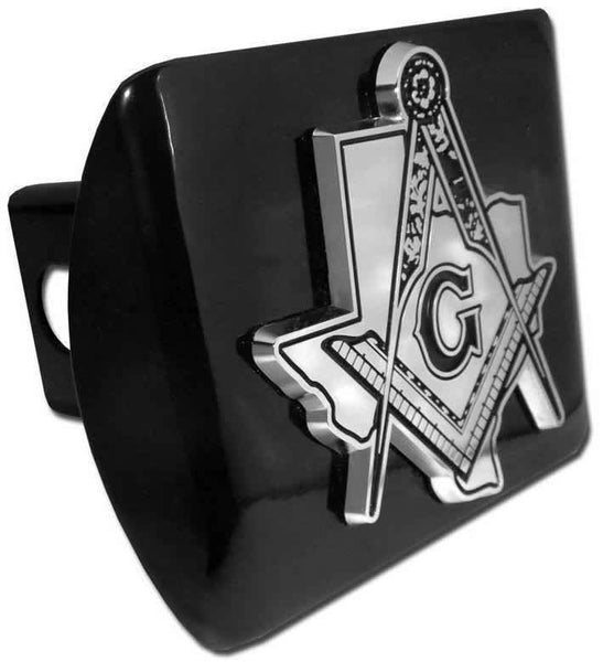 Texas Mason Square Compass Black Hitch Cover - Chrome Car Emblems | Trailer Hitch Covers/Masonic Car Emblems - I AmEricas Flags