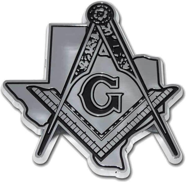 Texas Mason Square Compass Chrome Car Emblem - Chrome Car Emblems | Trailer Hitch Covers/Masonic Car Emblems - I AmEricas Flags