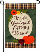 Thankful Grateful Truly Blessed Applique Garden Flag