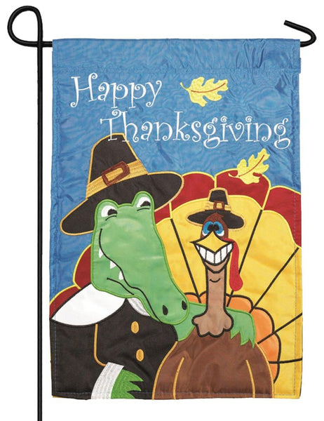 Thanksgiving Gator and Turkey Double Applique Garden Flag - I AmEricas Flags