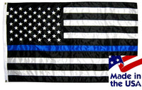 Police Thin Blue Line Black and White American Flag 3x5 Sewn Nylon