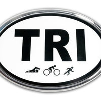 TRI Triathlon Chrome Car Emblem - Chrome Car Emblems | Trailer Hitch Covers/Cycling Marathon Triathlon Emblems - I AmEricas Flags