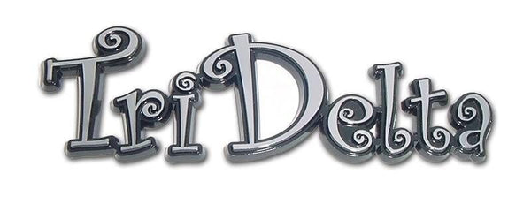 Tri Delta Script Sorority Chrome Car Emblem