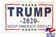 Trump 2020 Keep America Great 3x5 White Flag Made in the USA
