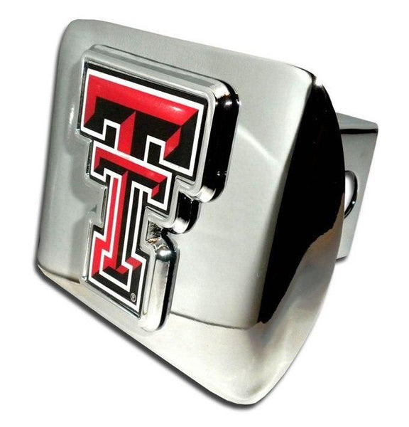 Texas Tech University Double T Color Emblem Shiny Chrome Hitch Cover