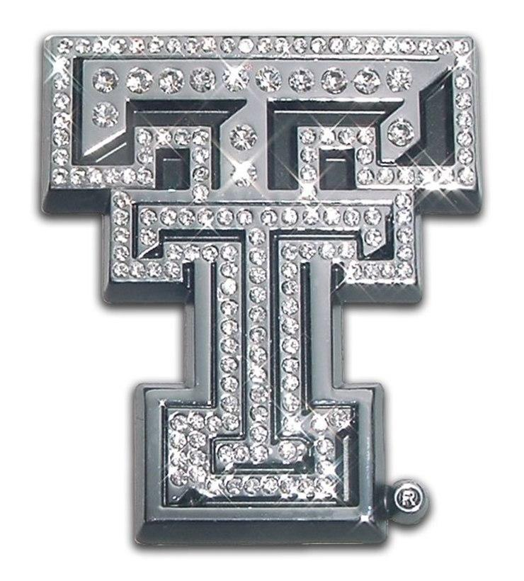 Texas Tech University Double T Crystal Chrome Emblem