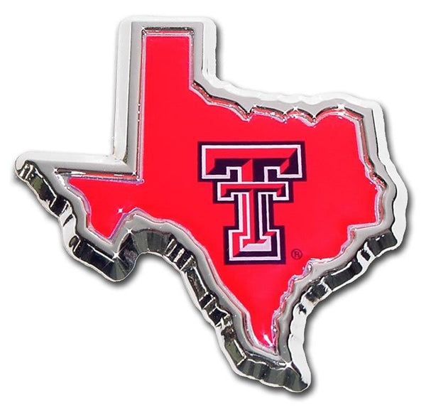 Texas Tech University State Shape Color Car Emblem