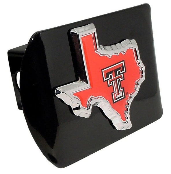 Texas Tech University Red State Shape Black Hitch Cover
