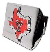 Texas Tech University Red State Shape Shiny Chrome Hitch Cover