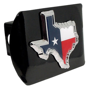 Texas State Shape with Color Black Hitch Cover - Chrome Car Emblems | Trailer Hitch Covers/Flag and State Symbol Emblems - I AmEricas Flags