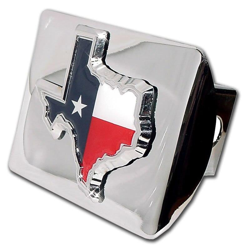 Texas State Shape with Color Shiny Chrome Hitch Cover