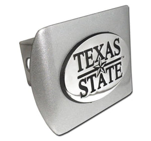 Texas State University Brushed Chrome Hitch Cover - Chrome Car Emblems | Trailer Hitch Covers/Collegiate Car Emblems/Texas State University - I AmEricas Flags