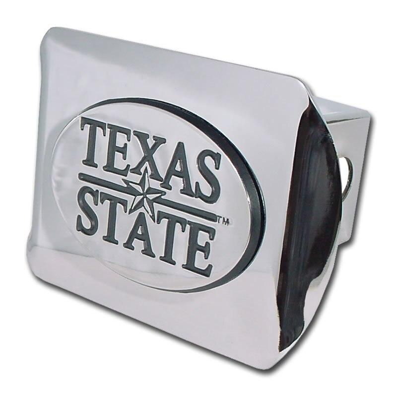 Texas State University Shiny Chrome Hitch Cover
