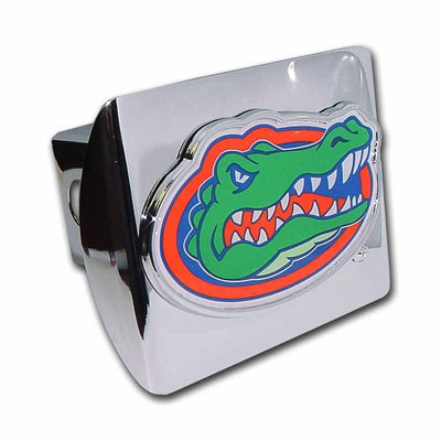 University of Florida Gator Head with Color Shiny Chrome Hitch Cover