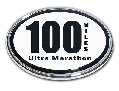100 Miles Ultra Marathon Chrome Car Emblem