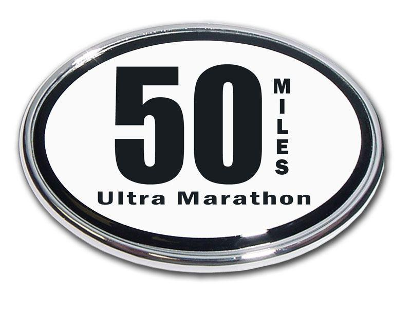 50 Miles Ultra Marathon Chrome Car Emblem - Chrome Car Emblems | Trailer Hitch Covers/Cycling Marathon Triathlon Emblems - I AmEricas Flags