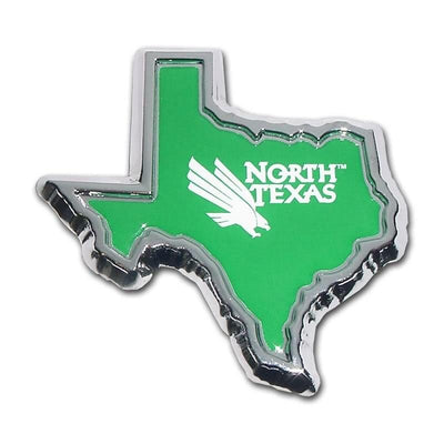 University of North Texas Chrome and Color Texas Shape Car Emblem