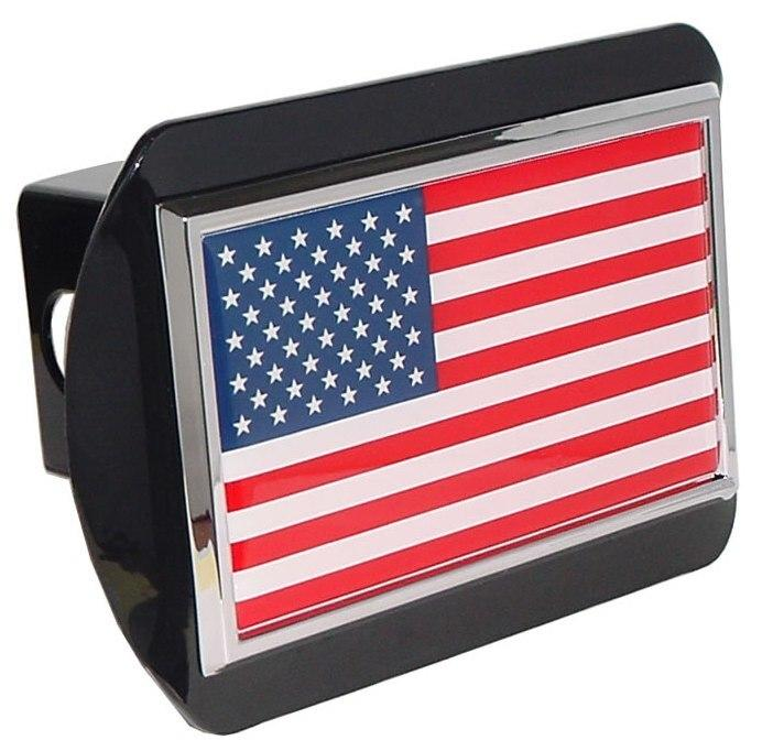 American Flag Black Hitch Cover