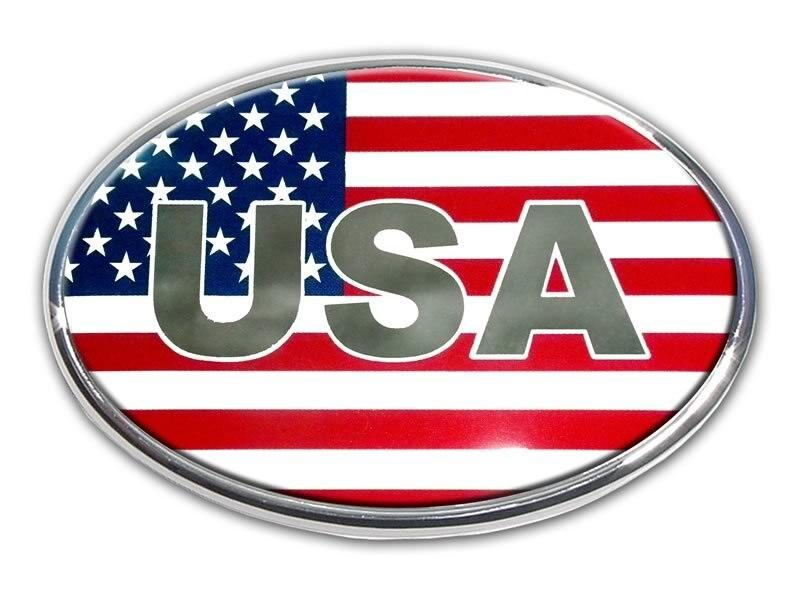 American Flag Oval Car Emblem