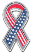 Stars and Stripes Ribbon Car Emblem