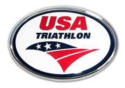 USA Triathlon Color and Chrome Car Emblem