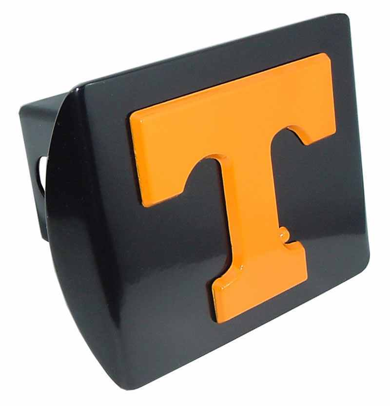 University of Tennessee Orange T Black Hitch Cover - Chrome Car Emblems | Trailer Hitch Covers/Collegiate Car Emblems/Tennessee Volunteers - I AmEricas Flags