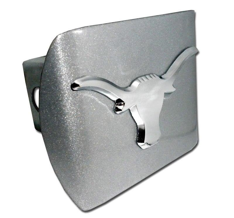 University of Texas Longhorn Brushed Chrome Hitch Cover - Chrome Car Emblems | Trailer Hitch Covers/Collegiate Car Emblems/University of Texas - I AmEricas Flags