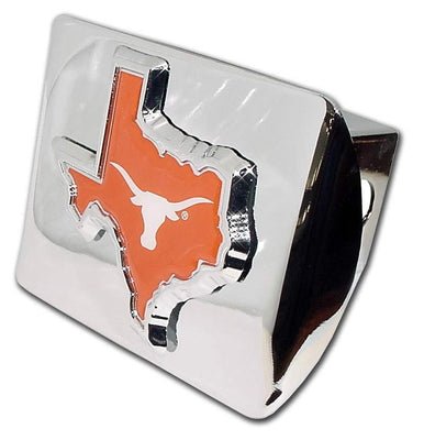 University of Texas Orange State Shape Shiny Chrome Hitch Cover