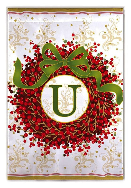Berry Wreath Monogram U House Flag