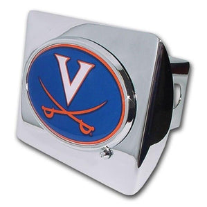 University of Virginia Color Logo Shiny Chrome Hitch Cover - Chrome Car Emblems | Trailer Hitch Covers/Collegiate Car Emblems/University of Virginia - I AmEricas Flags