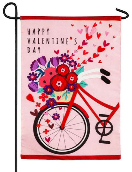 Valentine's Day Bicycle Applique Garden Flag - I AmEricas Flags
